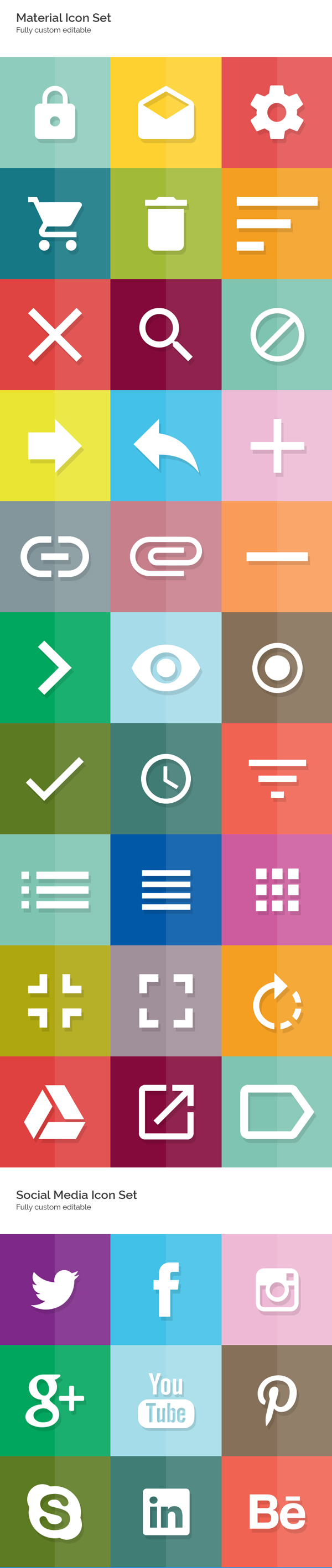 Free Material Icon Set (Fully Editable)