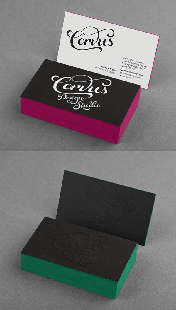 Free Embossed Colored Edge Black Business Card Mockup