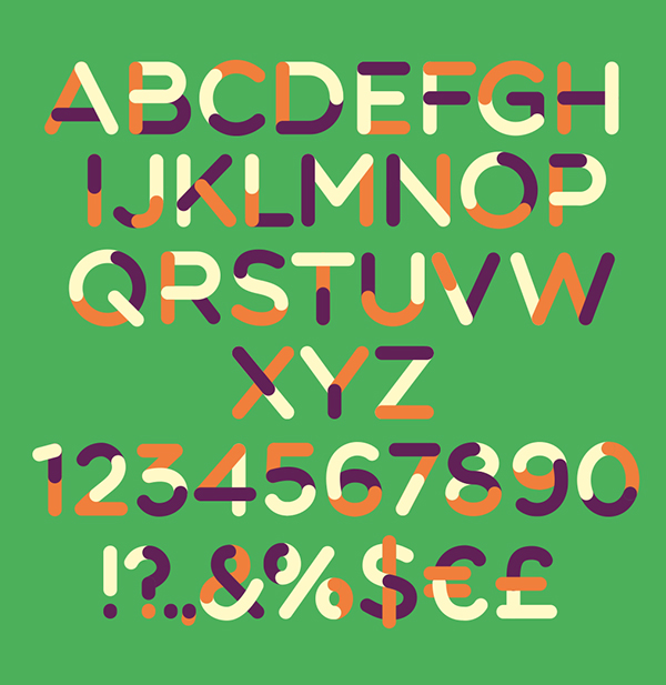 TriColore rounded font letters and numbers