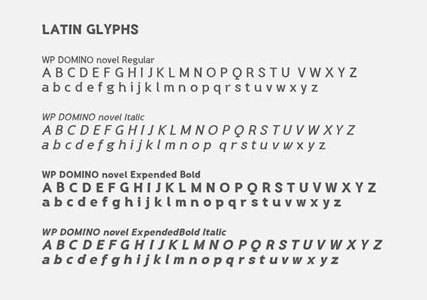 WP DOMINO novel font letters