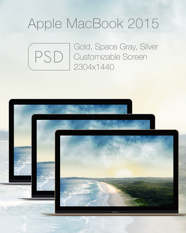 Free Apple Mac Book 2015 PSD Mockup Templates