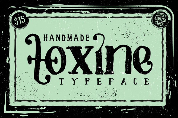 Toxine typeface is inspired by old hand drawn bottle label