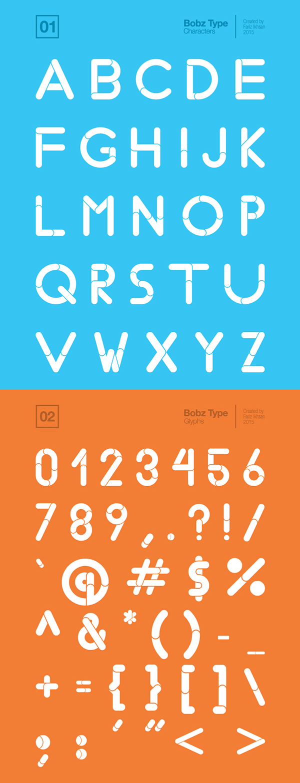 Bobz Type rounded font letters and numbers