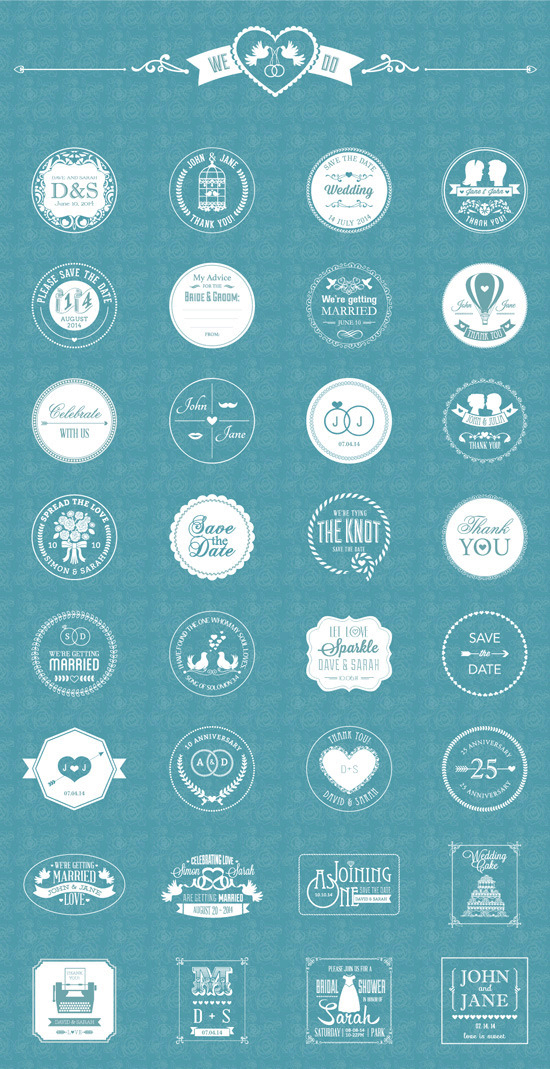 Free Vector Wedding Badges