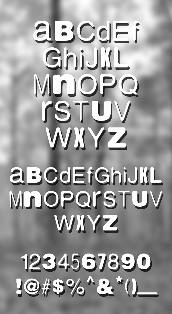 Nordica rounded font letters and numbers