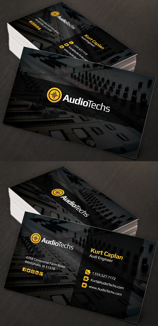 Audio Engineer Business Cards + Logo