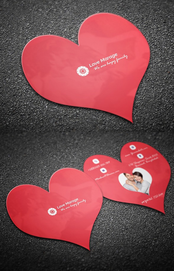Heart Business Card Free PSD Template