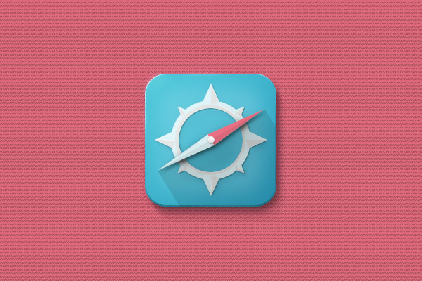 Free Compass Icon With a Long Shadow PSD File