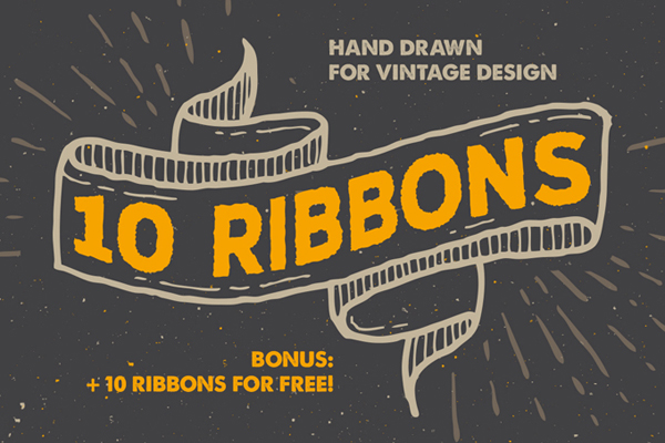 Hand-drawn Vintage style ribbons