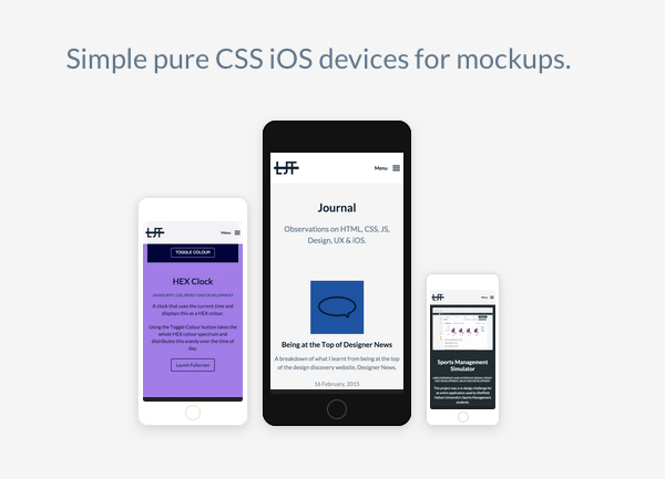 CSS Devices - Simple pure CSS iOS devices for mockups by Luke James Taylor