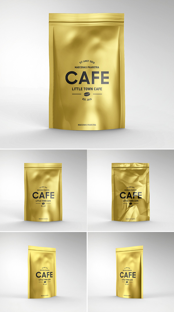 Foil Bag Pack Mockup PSD Template