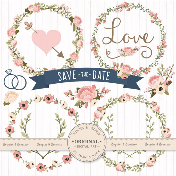 Save the Date Floral Set