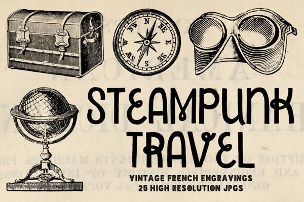 vintage Steampunk Travel Engravings