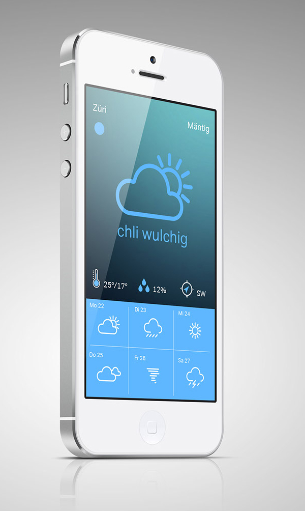 Weather forecast app UI Design by Pascal Frey