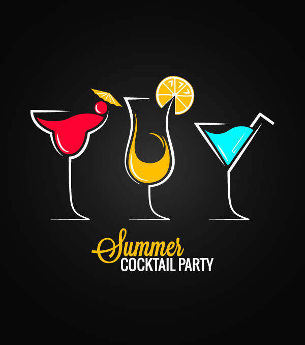 Summer Cocktail Party Vector Graphics