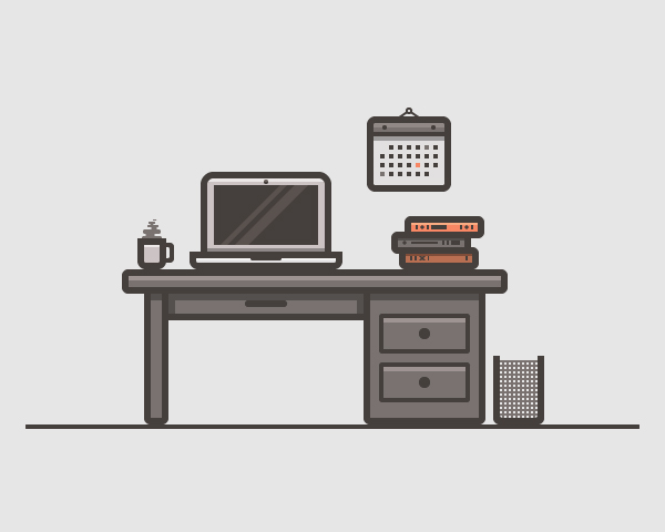 Desk Scenery Illustration Vector Graphics