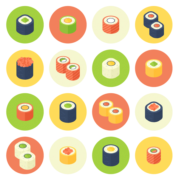Flat Design Rolled Sushi Icon Set
