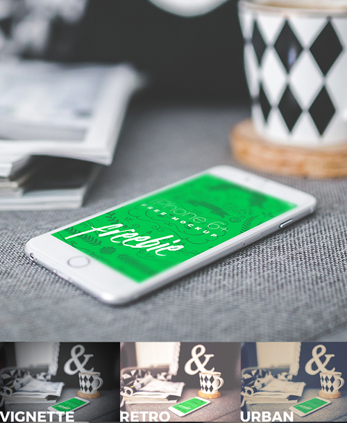 iPhone 6 Plus Urban Vintage PSD Mockup