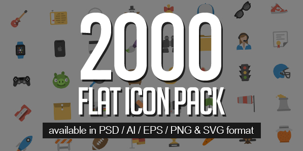 2000 Flat Icons Pack for UI Design