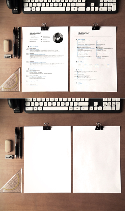 Free CV / Resume Mockup on Desk PSD Template