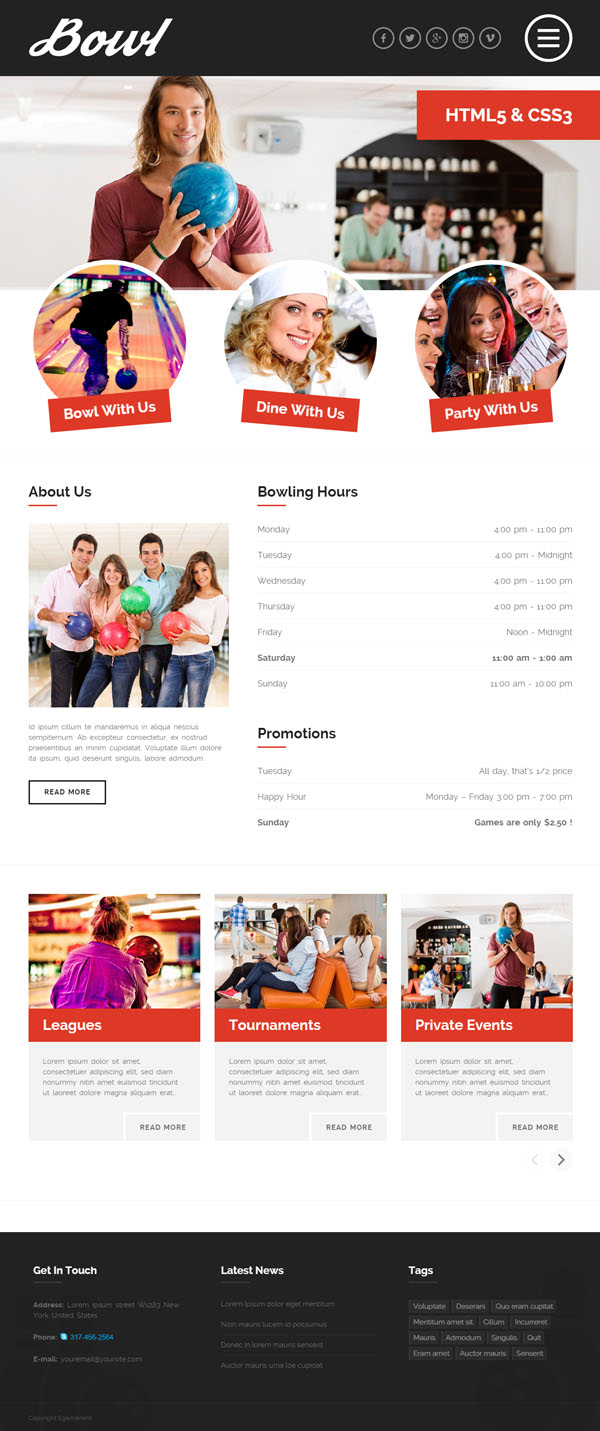 BOWL - Responsive Bowling Center HTML Template