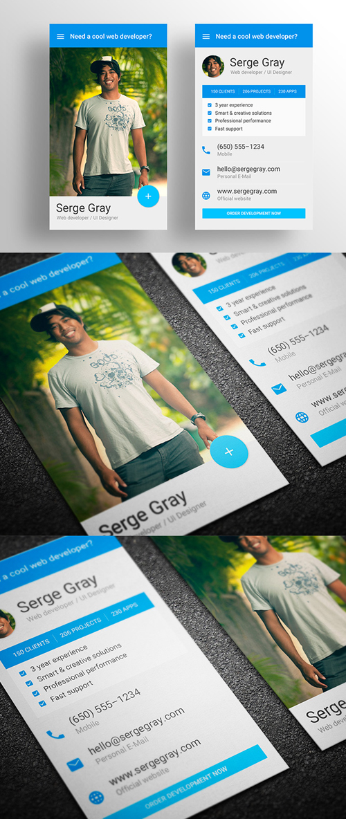 Material Design Inspired Business Card