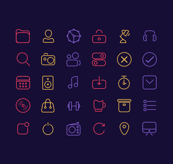 Free Line Icons - Sketch (30 Icons)
