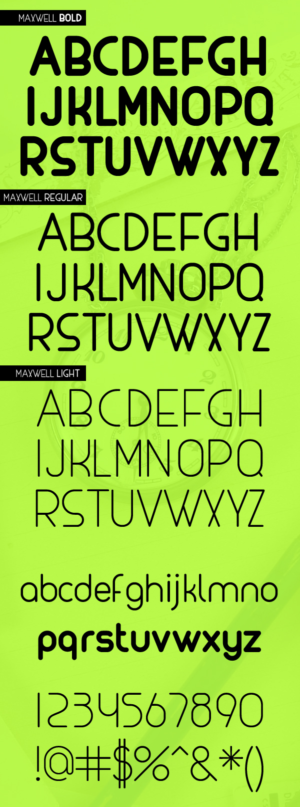 Maxwell rounded font letters and numbers