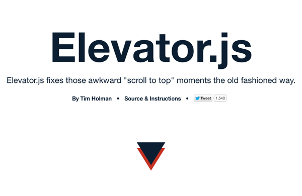 Animated scroll to top - Elevator.js