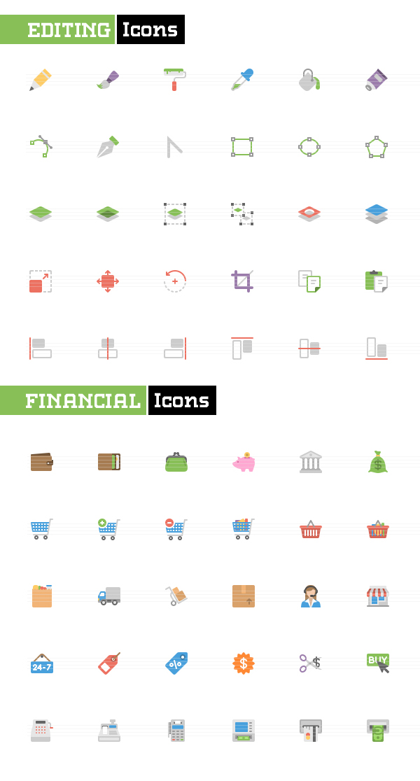 Editing and Financial Flat icons