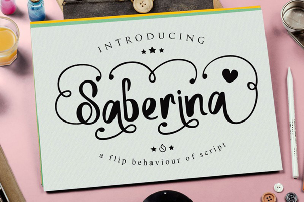 Saberina is handwritten with unusual and standard lettering.