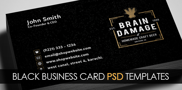 Free Vintage Black Business Card PSD Template Freebies Graphic - Email business card templates