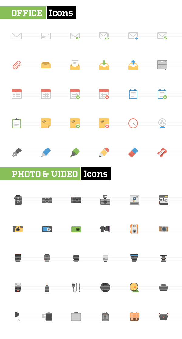 Office and Photo Video Flat icons