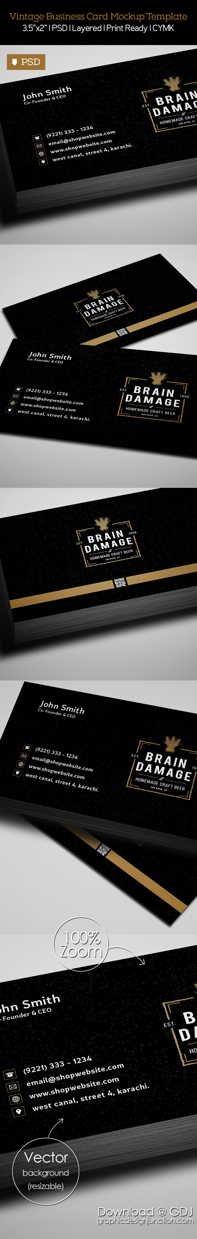 free vintage black business card psd template freebies