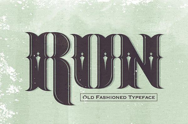 Run typeface, its an old fashioned modern vintage style type design.