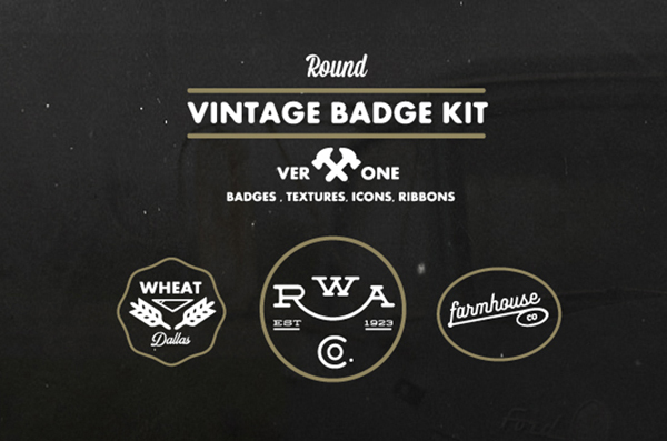 Round Vintage Badge Kit