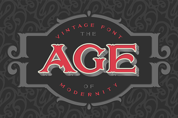 Vintage font 'The age of modernity'