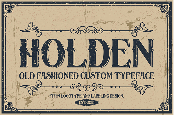 Holden typeface is a vintage font, useful to create a vintage apparel design