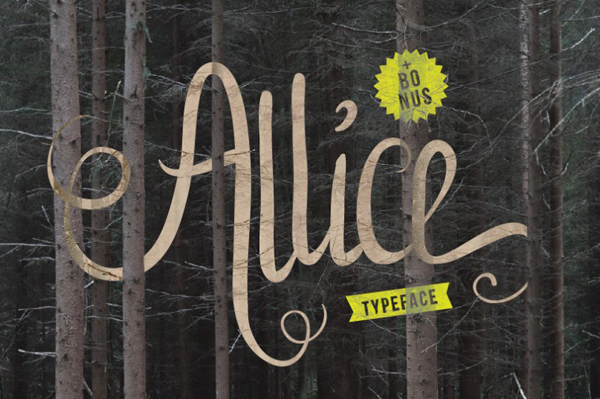 Allice typeface is handwritten font