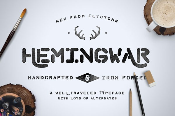 Hemingwar is a sturdy hand-lettered font family