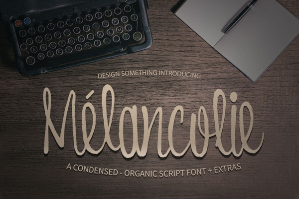 Melancolie is an organic condensed script font