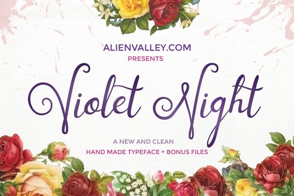 Violet Night, a fresh script typeface