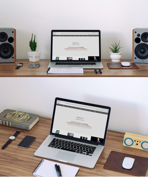 Free Macbook Workspace Mockup by Bruno Marinho