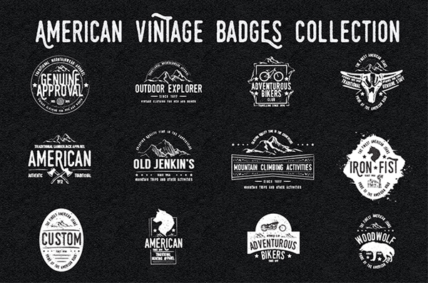 Retro design kit 600 logos fonts and textures resources hand drawn vintage logo templates pronofoot35fo Choice Image