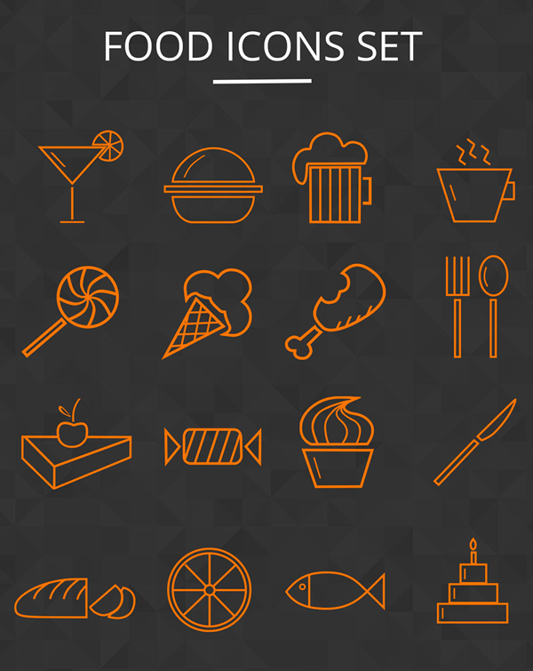 Food Icons Set - (12 Icons)