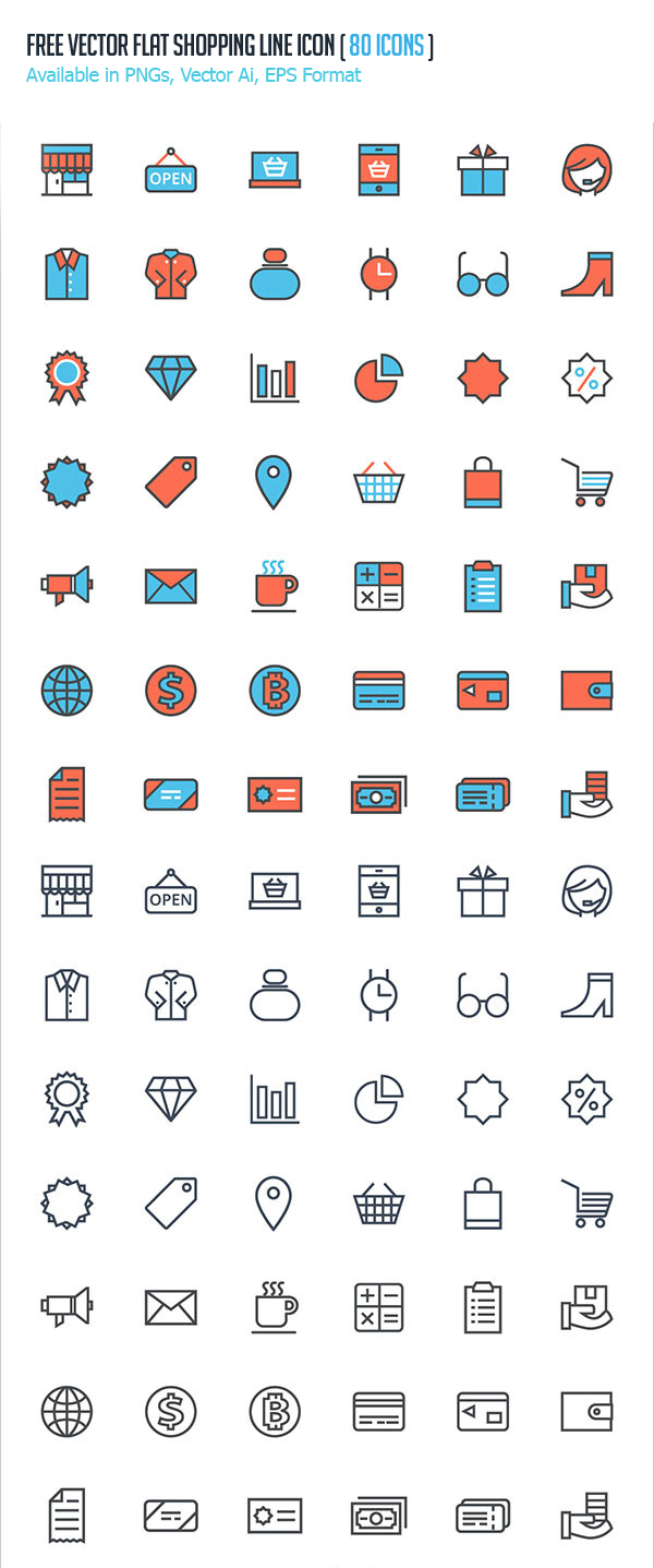 Free Vector Flat Shopping Line Icons - (80+ Icons)