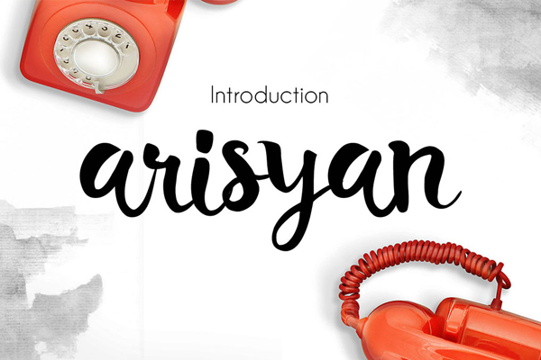 Arisyan Script is a hand made painted typeface with a customible style