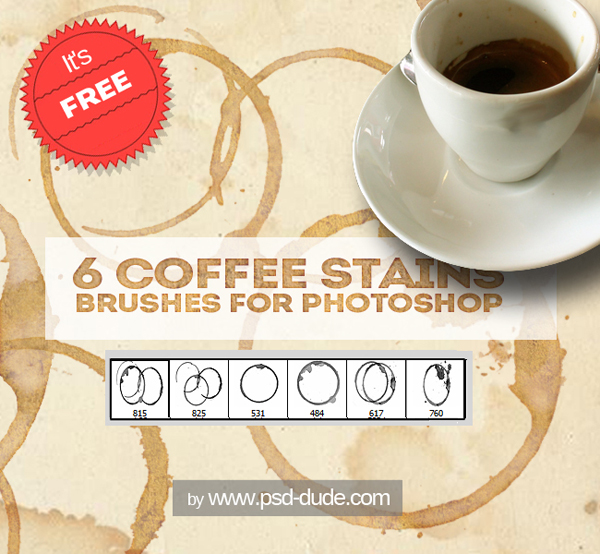 Coffee Cup Stain Brushes For Photoshop