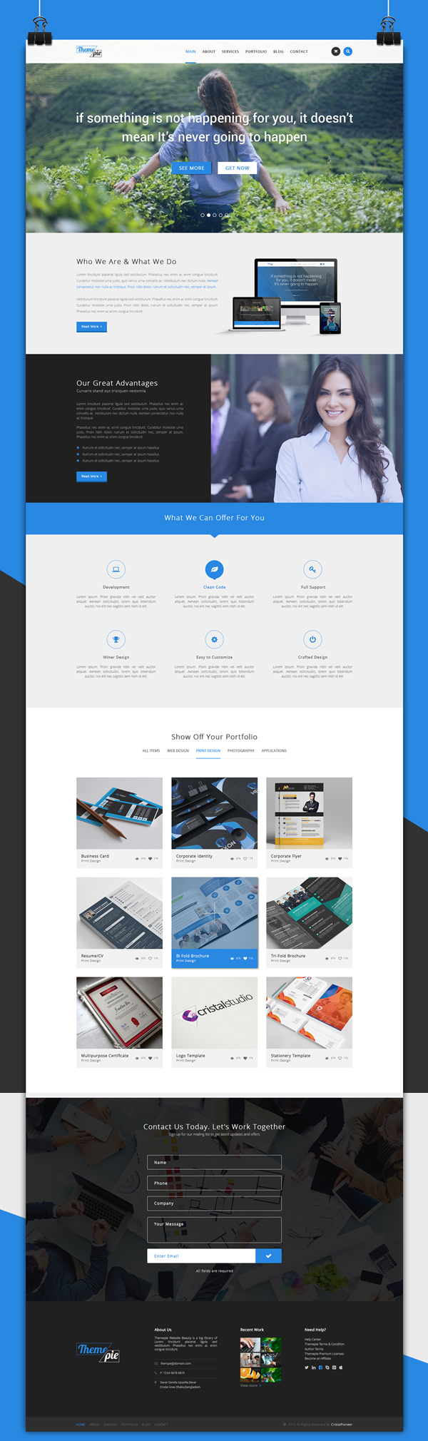 Themepie - Free One Page PSD Web Template