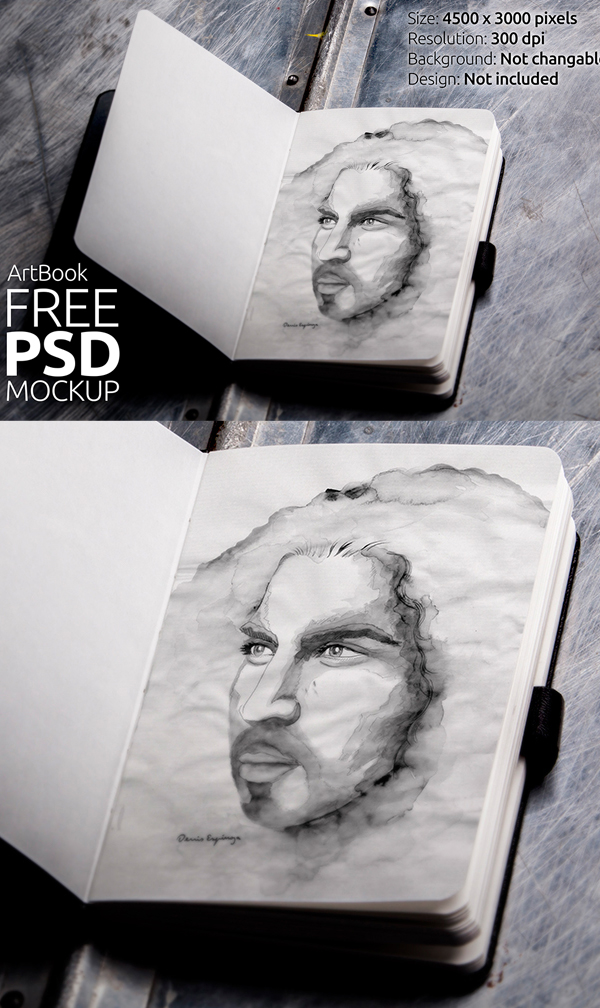 Free Art book Photorealistic Mockup